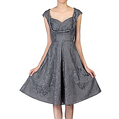 Jolie Moi - Dark grey crossover bust lace prom dress
