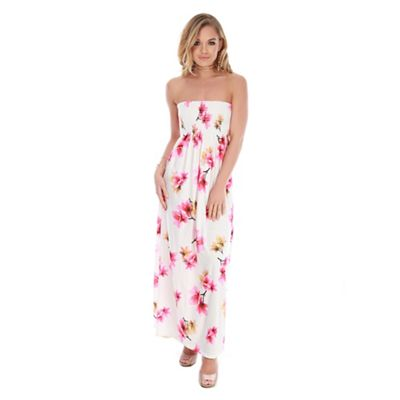 Be Jealous   White Floral Ruched Maxi Dress by Be Jealous
