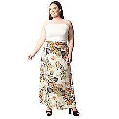 Izabel London Curve - Beige plus size floral print maxi skirt