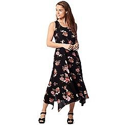 Izabel London - Black floral contrast panel midi dress