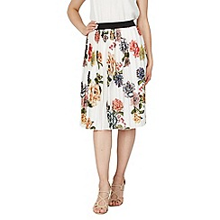 Tenki - White floral pleated midi skirt