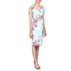 Jolie Moi - Aqua floral print cold shoulder dress
