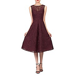 Jolie Moi - Dark red lace bonded prom dress
