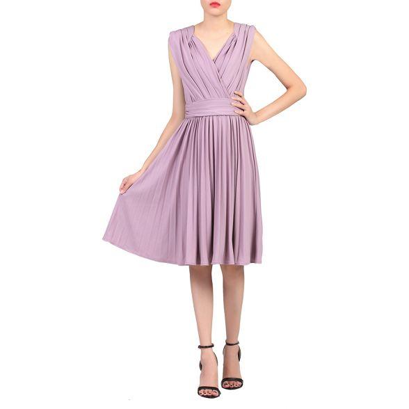 pleated Purple Jolie neck dress plunging Moi wI6qzp