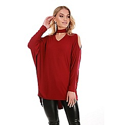 Be Jealous - Wine cold shoulder choker neck top
