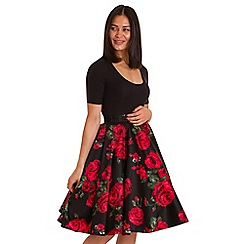 Lady Vintage - Black rose circle skirt