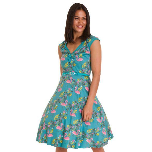 Turquoise tropicana dress Vintage flamingo Lady isabella znZ4xFw