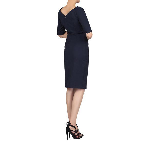 Moi Jolie neck Navy sleeve scoop dress half 0ddTwqxf