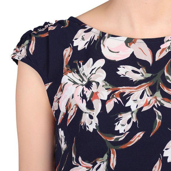 tea pleated Jolie print Moi Navy dress floral BIBnHawXO