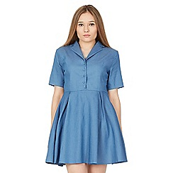 MISSTRUTH - Blue short sleeve denim shirt dress
