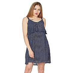 Tenki - Blue sleeveless polka dot cami dress