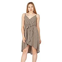 Tenki - Brown stripe wrap dress