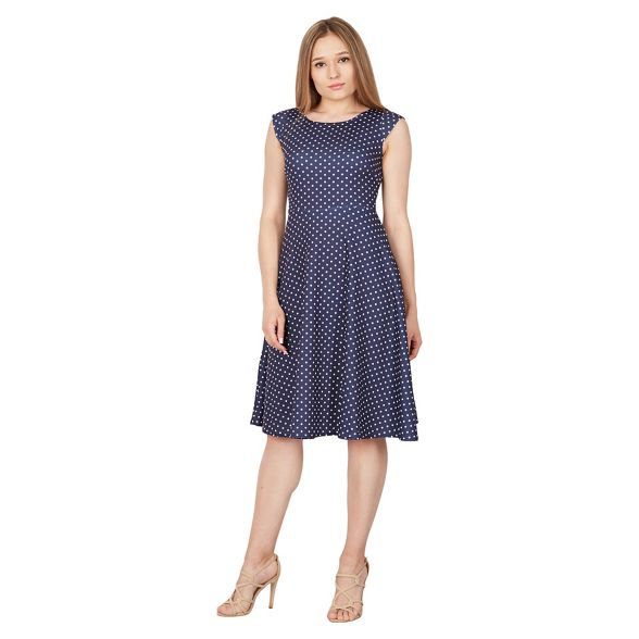 polka flared Navy Feverfish dot dress 8q5F7Txn