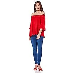Roman Originals - Red lace trim bardot top