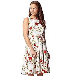 Izabel London - White floral sleeveless fit and flare dress