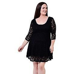 Izabel London Curve - Black lace fit & flare dress