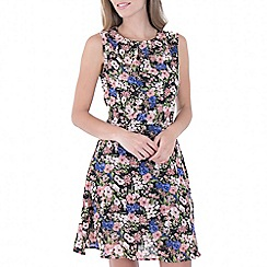 MISSTRUTH - Multicoloured floral self tie belt chiffon dress