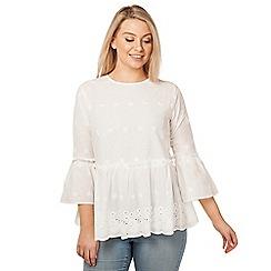 Arrae - White peplum embroidered blouse