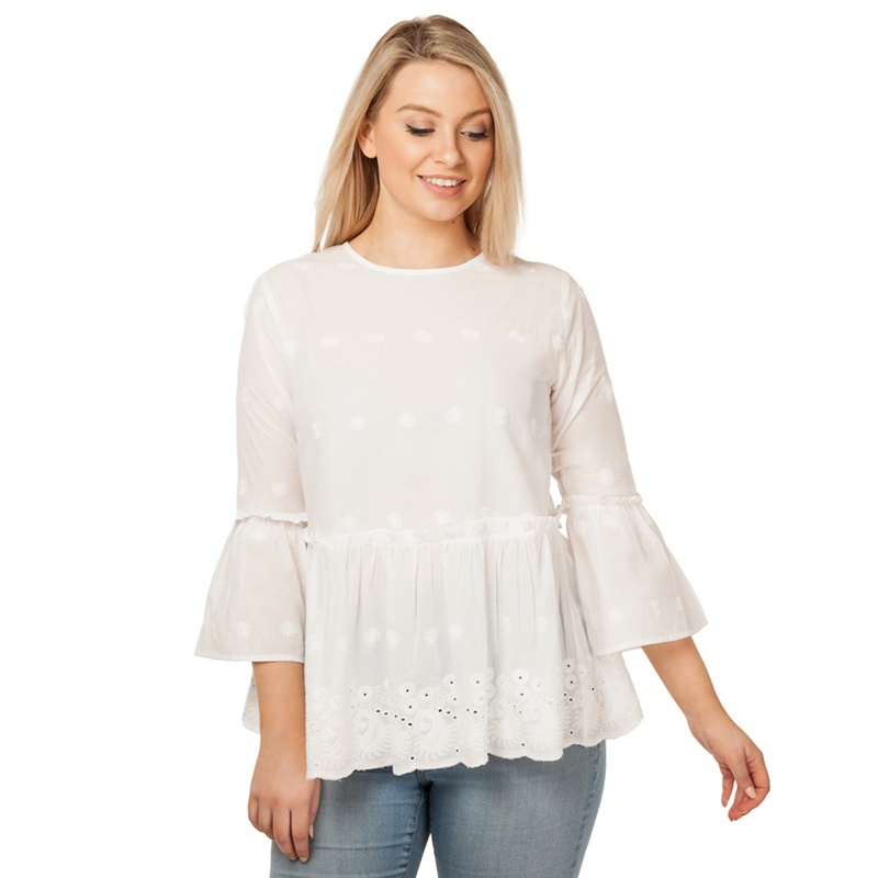 d48b030c75733f Offer  Arrae - White Peplum Embroidered Blouse