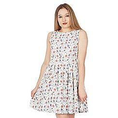 Tenki - White floral pattern skater dress