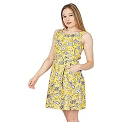 Tenki - Yellow floral skater elastic back dress