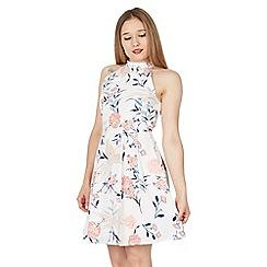 Tenki - White halter neck floral skater dress