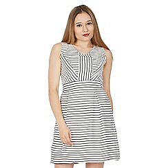 Tenki - White v-neck striped skater dress