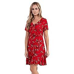 Izabel London - Red paisley ruffle & frill dress