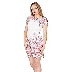 Apricot - Red floral print lace shift dress
