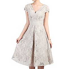 Jolie Moi - Brown cap sleeve fit & flare lace dress