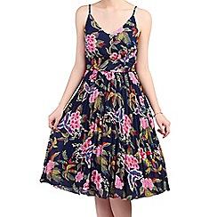 Jolie Moi - Navy floral print pleated dress