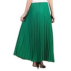 Jolie Moi - Green crepe pleated maxi skirt