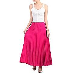 Jolie Moi - Pink crepe pleated maxi skirt