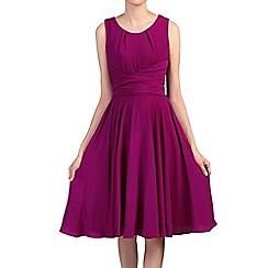 Jolie Moi - Purple tie belted skater dress