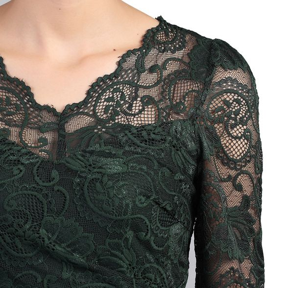 v long neck sleeve dress Moi Dark lace Jolie green RxFvw7