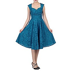 Jolie Moi - Dark turquoise  ruched crossover bust prom dress