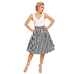 Dolly and Dotty - White may v-neck 50s style swing dress