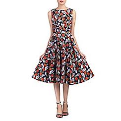 Jolie Moi - Blue wrap belted floral print swing dress