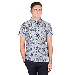 Steel & Jelly - Multicoloured floral & leaf print pique polo shirt