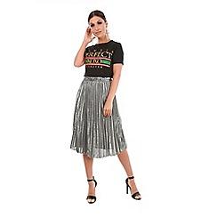 Be Jealous - Grey pleated metallic midi skirt