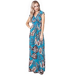 Izabel London - Blue leaf print keyhole maxi