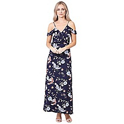 Izabel London - Navy printed cold shoulder maxi dress