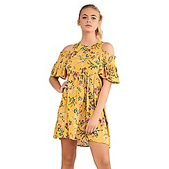 Amalie & Amber - Yellow cold shoulder mini dress