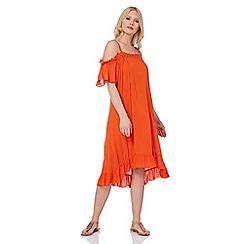 Roman Originals - Orange cold shoulder swing dres