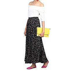 Jolie Moi - Black print pleated maxi skirt