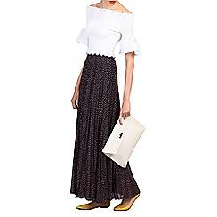 Jolie Moi - Navy print pleated maxi skirt