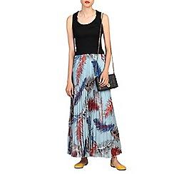 Jolie Moi - Blue print pleated maxi skirt