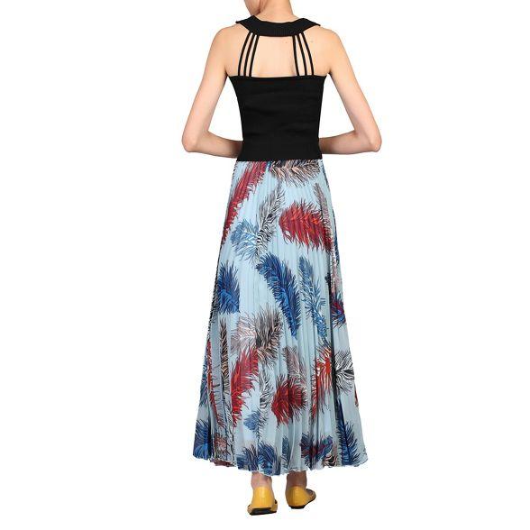 Blue Jolie Moi skirt maxi print pleated 5zxqwzaAO
