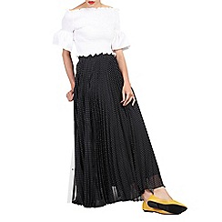 Jolie Moi - Black polka dot pleated maxi skirt