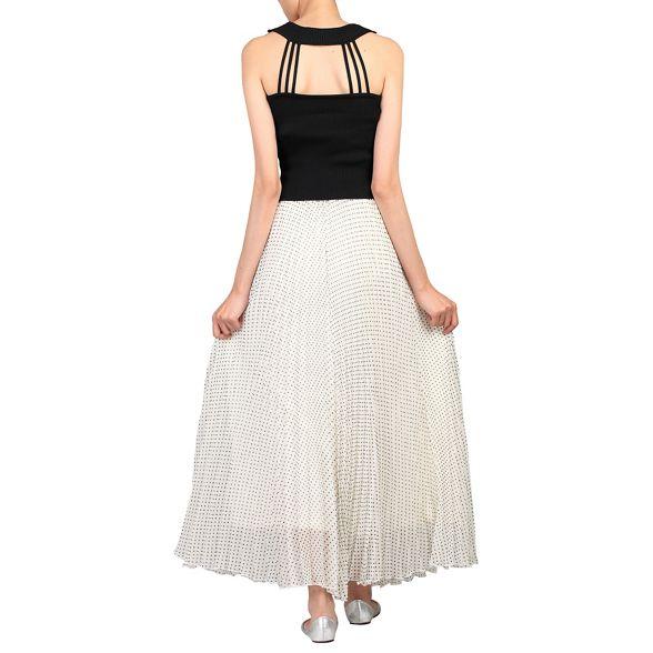 Cream polka Jolie dot skirt maxi Moi pleated HEzz8qw5